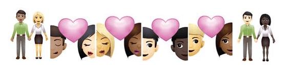 Loving: Bi-racial Emoji Couples