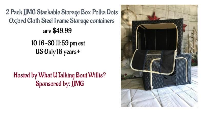 jjmg stackable storage box polka dots oxford cloth steel frame 2 pk giveaway. Black Bedroom Furniture Sets. Home Design Ideas